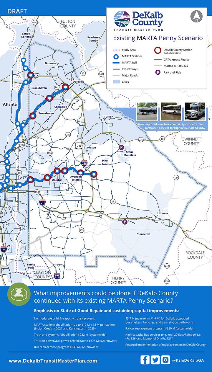 DeKalb County Existing MARTA Penny Scenario docuses on the maintenance and operations of existing system with no additional moderate- or high-capacity transit projects.